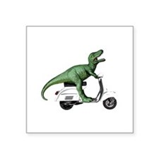 "T-Rex Rides Scooter Square Sticker 3"" x 3"""