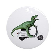 T-Rex Rides Scooter Ornament (Round)