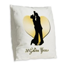 50th Wedding Anniversary Burlap Throw Pillow