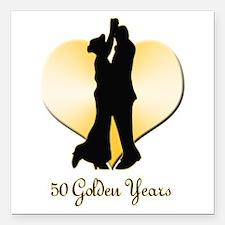 "50th Wedding Anniversary Square Car Magnet 3"" x 3"""