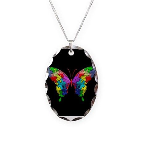 Autism Awareness Butterfly Necklace Oval Charm