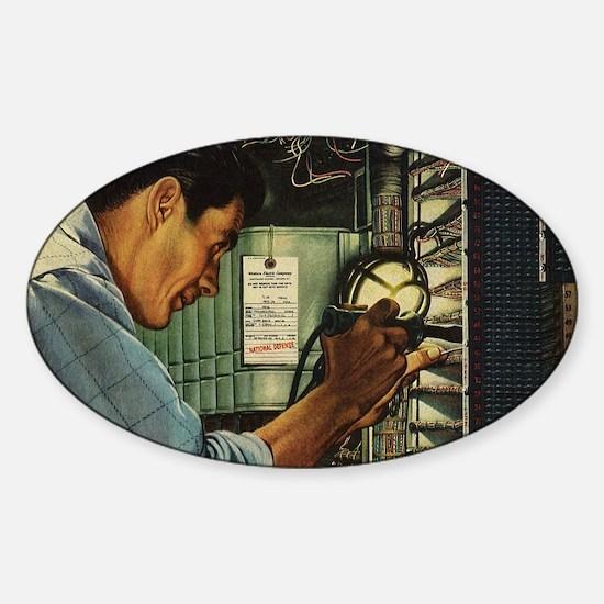 Vintage Business Electrician Sticker (Oval)