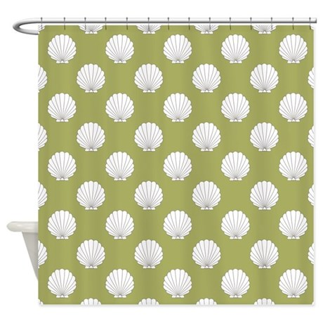 Olive Green Clamshells Seashells Shower Curtain By Hhtrendyhome