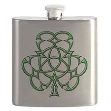 Celtic Shamrock Triquetra Flask