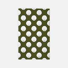 Dk Olive Green Clamshells Seashells 3'x5' Area Rug