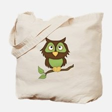 Cute Green Owl on Branch Tote Bag