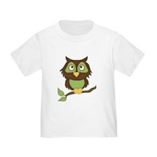 Cute Green Owl on Branch T