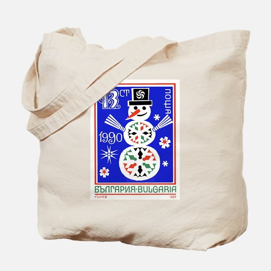 1989 Bulgaria Holiday Snowman Postage Stamp Tote B