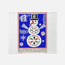 1989 Bulgaria Holiday Snowman Postage Stamp Throw