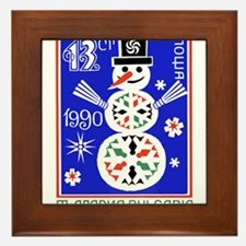 1989 Bulgaria Holiday Snowman Postage Stamp Framed
