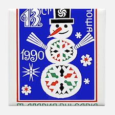 1989 Bulgaria Holiday Snowman Postage Stamp Tile C