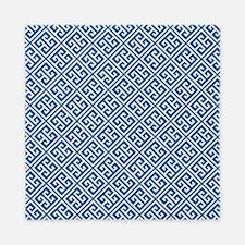 Cobalt Blue Greek Key Pattern Queen Duvet