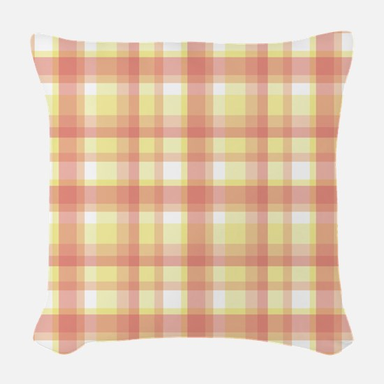 Peach Plaid Woven Throw Pillow
