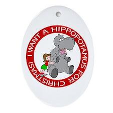 Hippopotamus For Christmas Oval Ornament