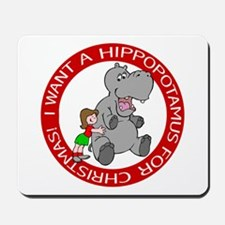 Hippopotamus For Christmas Mousepad