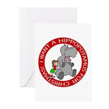 Hippopotamus For Christmas Greeting Cards (Package