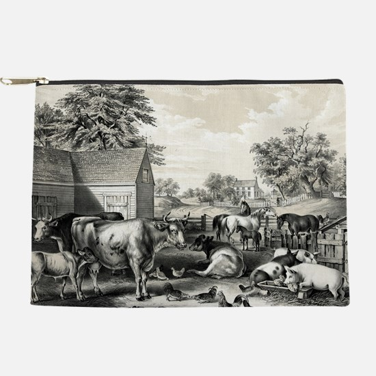 American farm yard - evening - 1857 Makeup Pouch
