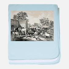 American farm yard - evening - 1857 baby blanket