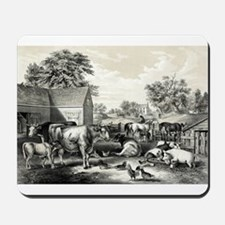American farm yard - evening - 1857 Mousepad