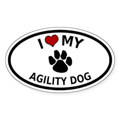 I Love My Agility Dog Oval Sticker