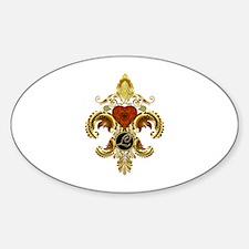 Monogram L Fleur-de-lis Sticker (Oval)