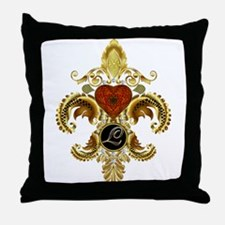 Monogram L Fleur-de-lis Throw Pillow