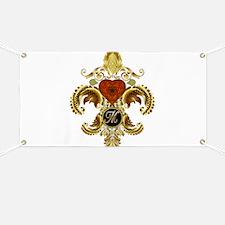 Monogram M Fleur-de-lis Banner