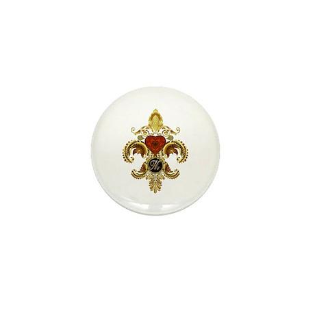Monogram M Fleur-de-lis Mini Button