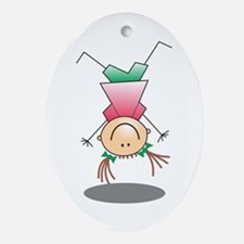 Cartoon Stick Figure Girl Cartwheel Ornament (Oval