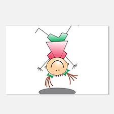 Cartoon Stick Figure Girl Cartwheel Postcards (Pac
