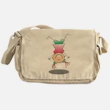 Cartoon Stick Figure Girl Cartwheel Messenger Bag