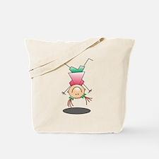 Cartoon Stick Figure Girl Cartwheel Tote Bag
