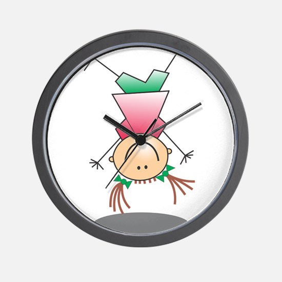 Cartoon Stick Figure Girl Cartwheel Wall Clock