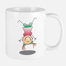 Cartoon Stick Figure Girl Cartwheel Mugs