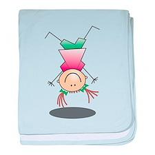 Cartoon Stick Figure Girl Cartwheel baby blanket