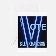Bill Richardson Neon Vote Greeting Cards (Package