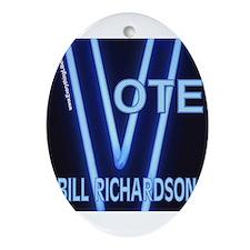 Bill Richardson Neon Vote Oval Ornament