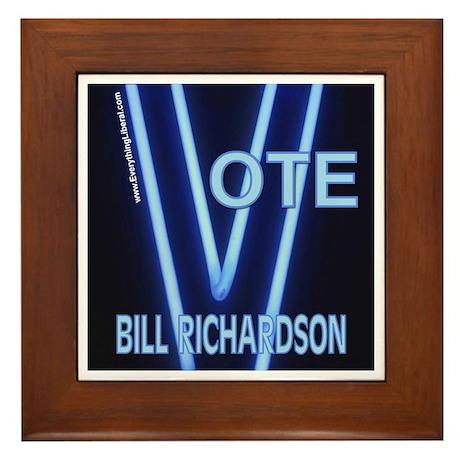 Bill Richardson Neon Vote Framed Tile