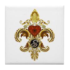 Monogram S Fleur-de-lis Tile Coaster