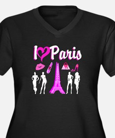 LOVE PARIS Women's Plus Size V-Neck Dark T-Shirt