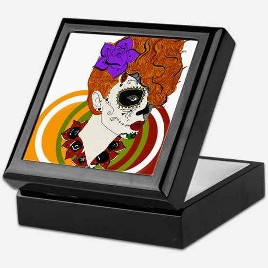 Sugar Skull Background Keepsake Box