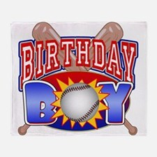 Baseball Birthday Boy Throw Blanket