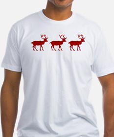 Red And White Reindeer Motif T-Shirt