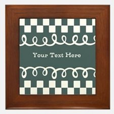 Custom Text Decorative Checkered Framed Tile