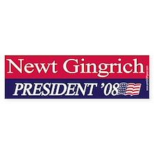 """Newt Gingrich for President"" Bumper Car Sticker"