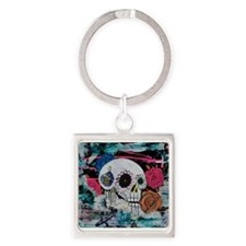 Sugar Skull and Roses Keychains