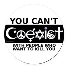 coexist_3x5.png Round Car Magnet