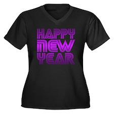 Happy new Ye Women's Plus Size Dark V-Neck T-Shirt