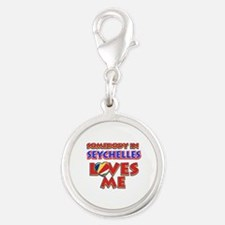 Somebody in Seychelles Loves me Silver Round Charm