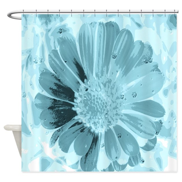 Blossom Aqua Shower Curtain By MehrFarbeimLeben